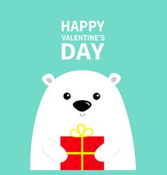 Happy valentines day white polar bear cub face vector