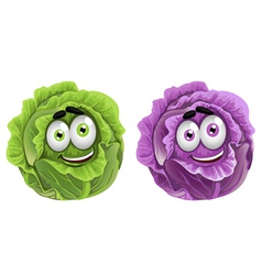 Head of fun purple and green cabbage vector image
