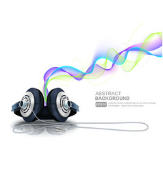 Headphones with colorful waves vector