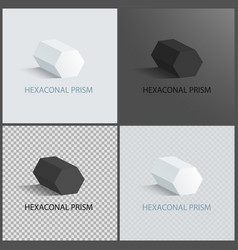 Hexagonal prisms set on dark light and transparent vector
