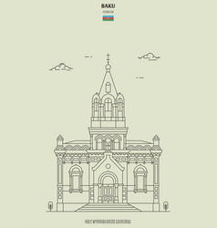 Holy myrrhbearers cathedral in baku azerbaijan vector