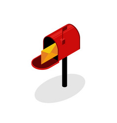 isometric red mailbox with envelope flat design vector image
