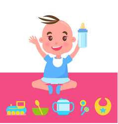 Joyful kid with bottle sitting on pink carpet vector