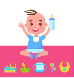 joyful kid with bottle sitting on pink carpet vector image