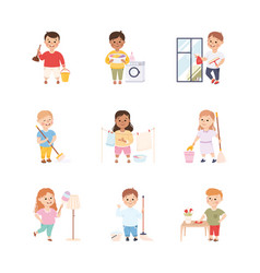 Kid helping their parents with housework set boys vector