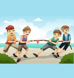 Kids in tug of war vector