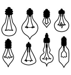 Light bulbs shapes symbol set vector