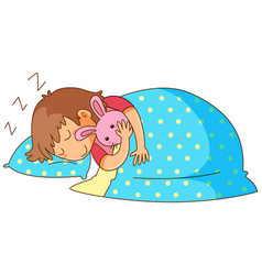 Little girl sleeping with bunny doll vector