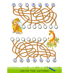 Logic puzzle game for study english vector