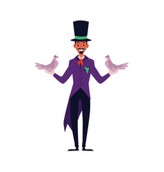 magician man makes trick with doves flat cartoon vector image