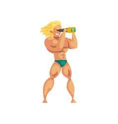 Male lifeguard looking at binoculars muscular vector