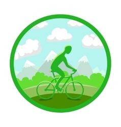 Man on bike silhouette vector image