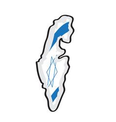 map of israel with its flag vector image