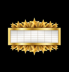 marquee golden banner with stars and realistic vector image