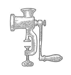 meat grinder black vintage engraving vector image