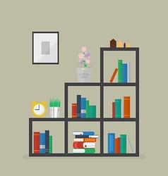 Minimal bookshelf with many books and flower vector