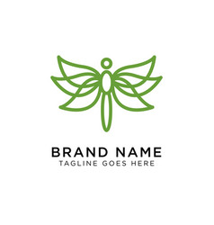 minimalist elegant dragonfly logo design with vector image