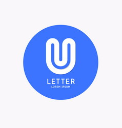 modern linear logo and sign letter u vector image