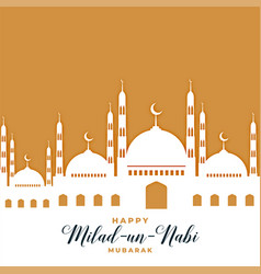 Mosque greeting for milad un nabi festival vector