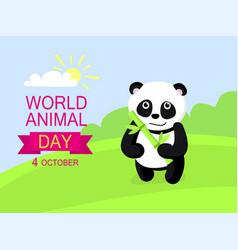 october animal day concept background flat style vector image