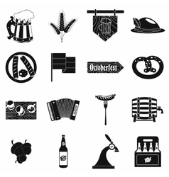 Oktoberfest party black simple icons vector