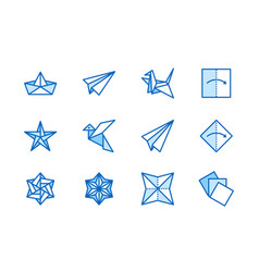 origami flat line icons set paper cranes bird vector image