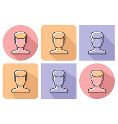 Outlined icon of male user picture with parallel vector