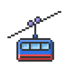 Outlined pixel icon cable railway fully vector