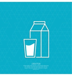 Paper packaging with a full glass of milk vector