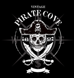 Pirate skull grunge design for t-shirt vector