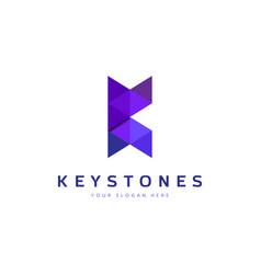 purple geometry letter k logo design vector image