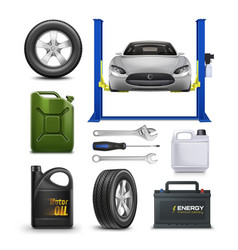 Realistic set for car service isolated vector