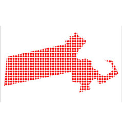 Red dot map of massachusetts vector