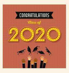 retro 2020 graduation greeting card vector image