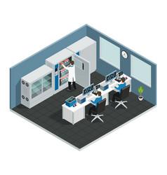 Scientific laboratory isometric workplace vector