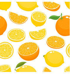 seamless pattern with lemons and oranges vector image