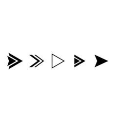 set black arrows right direction vector image