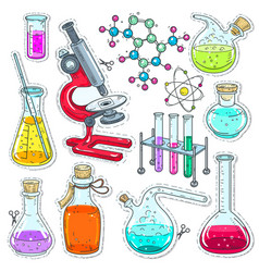 set colorful of chemical laboratory equipment vector image