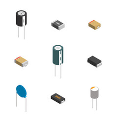 Set different 3d electronic components vector