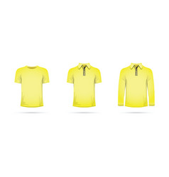 Set of yellow t-shirts vector