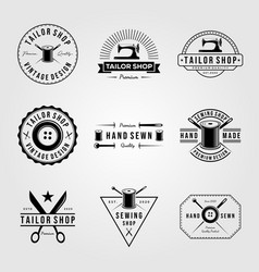 set vintage tailor shop sewn logo hand made vector image