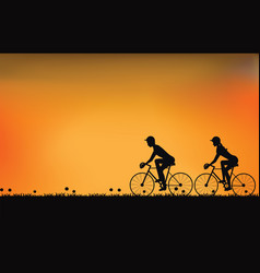 silhouette of couple driving bike with beautiful vector image