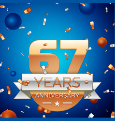Sixty seven years anniversary celebration design vector