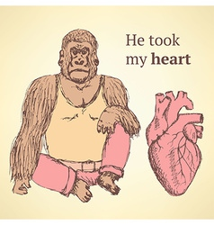 Sketch fancy gorilla with heart in vintage style vector image