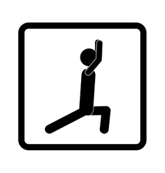 Square shape pictogram with man squat icon vector