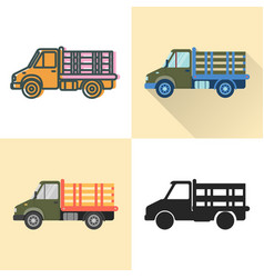 stake bed truck icon set in flat and line styles vector image