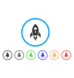 startup rocket rounded icon vector image