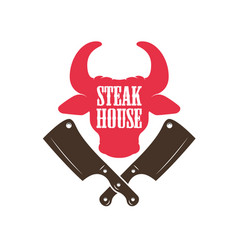 steak house bull head silhouette and crossed meat vector image
