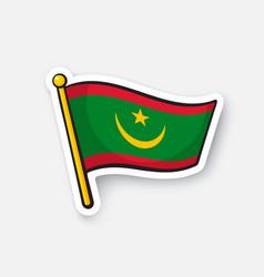Sticker national flag mauritania vector