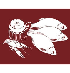 stockfish and bear vector image